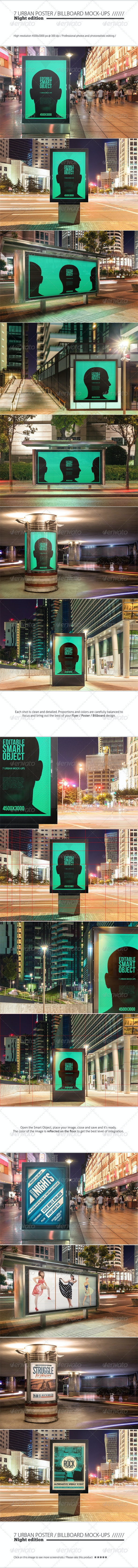 Urban Poster / Billboard Mock-ups - Night Edition - Posters Print