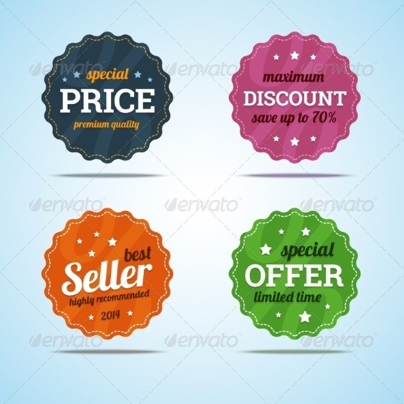 Special Set of Premium Sale Badges in Flat Style.  - Retail Commercial / Shopping