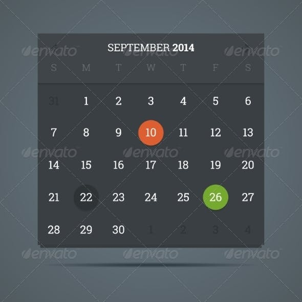 September 2014 Calendar in Flat Dark Style.