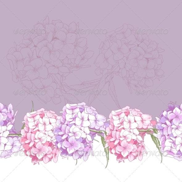 Beautiful Pink Hydrangea Seamless Floral Border  - Patterns Decorative