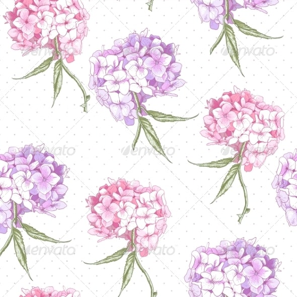 Beautiful Pink Hydrangea Seamless Background - Patterns Decorative