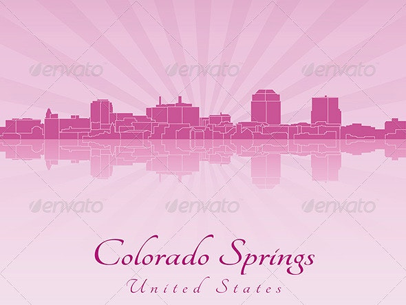 Colorado Springs Skyline in Radiant Orchid - Buildings Objects