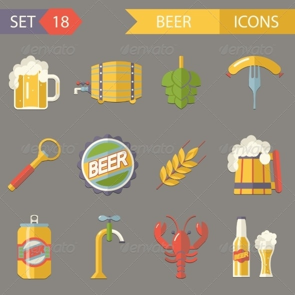 Retro Beer Alcohol Symbols  Vector Illustration - Food Objects