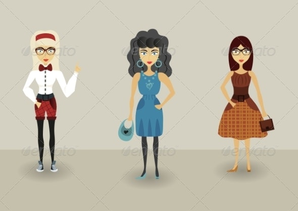 Funny Cartoon Hipster Character, Young Romantic Girls - People Characters