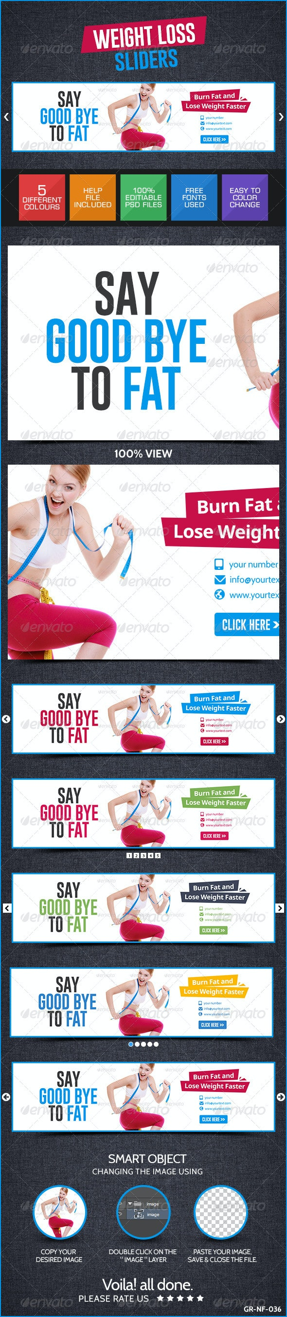 Weight Loss Web Sliders - Sliders & Features Web Elements