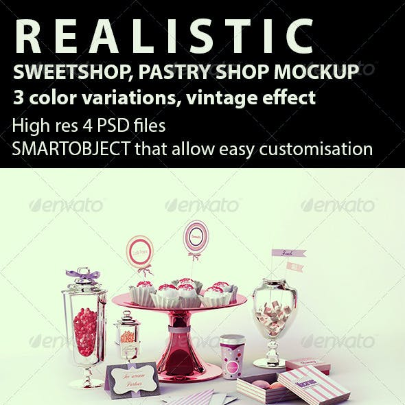 Sweetshop, Pastry Shop, Sweets, Bakery Mockup
