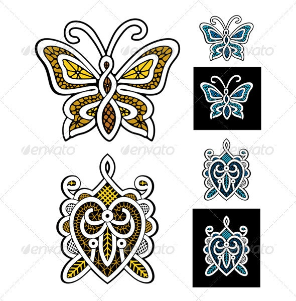 Butterfly Turtle Lace Icon - Animals Characters