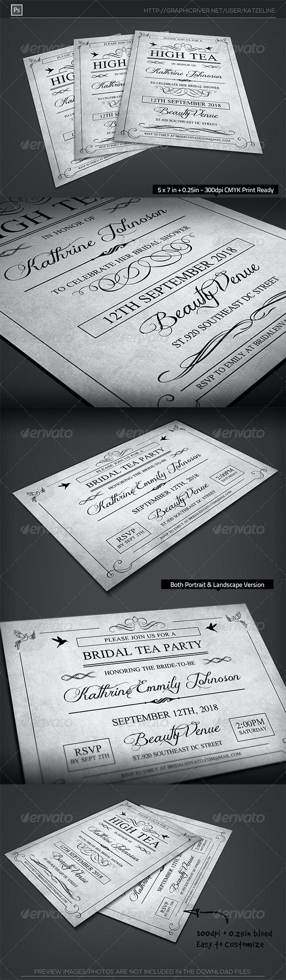 High Tea Bridal Shower Party Invitation Template - Invitations Cards & Invites