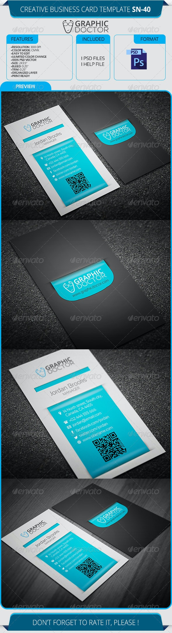 Creative Business Card Template SN-40 - Creative Business Cards