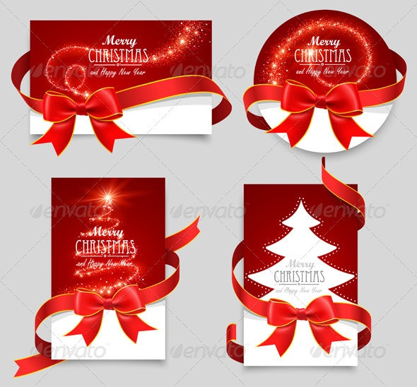 Gift Cards with Red Bows - Christmas Seasons/Holidays