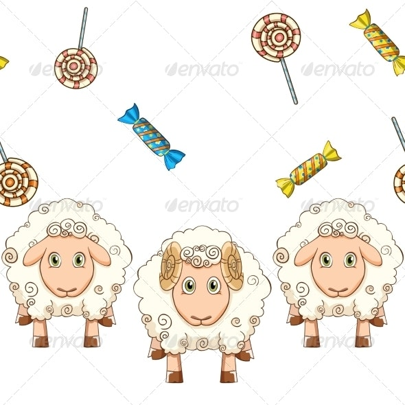Cartoon Sheep with Candy - Animals Characters