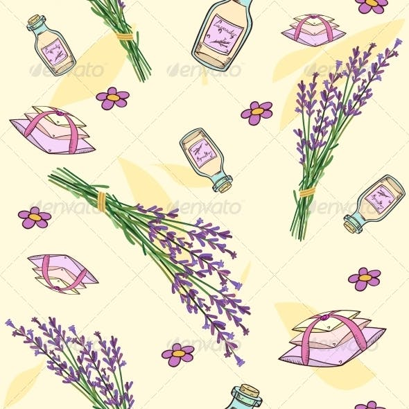 Seamless Pattern with Lavender