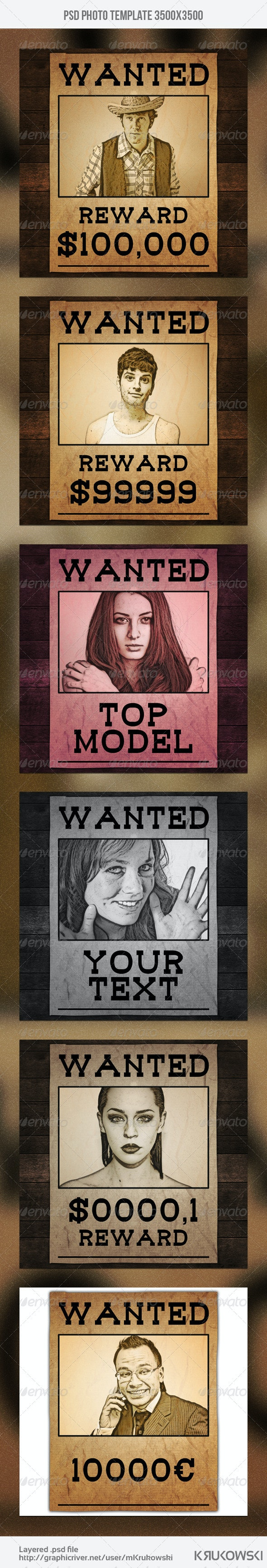 Wanted Poster Photo Template - Miscellaneous Photo Templates