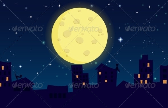 City on Background of the Moon.  - Abstract Conceptual