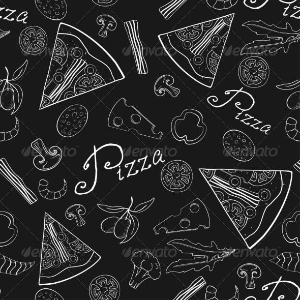 Seamless Pattern of Hand-Drawn Pizza