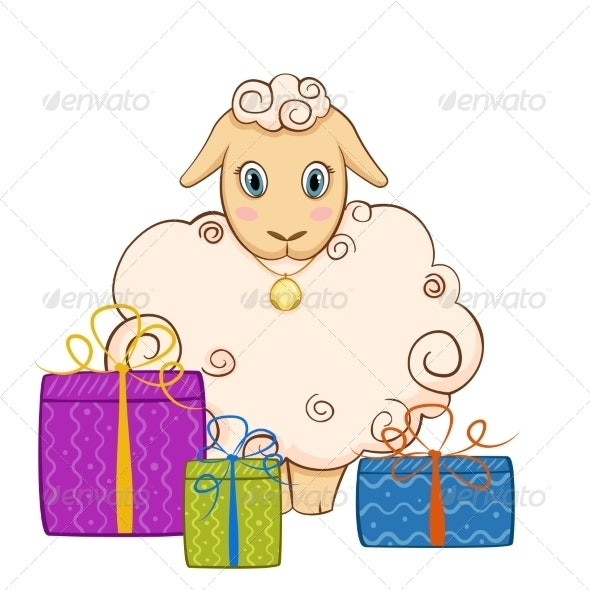 Cartoon Sheep with Gifts - Animals Characters
