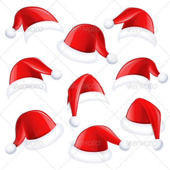 Set of Red Santa Hats - Christmas Seasons/Holidays