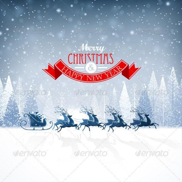 Santa Claus Rides in a Reindeer Sleigh - Christmas Seasons/Holidays