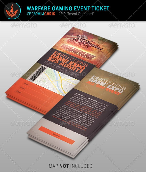 Warfare Gaming Event Ticket Template - Miscellaneous Print Templates