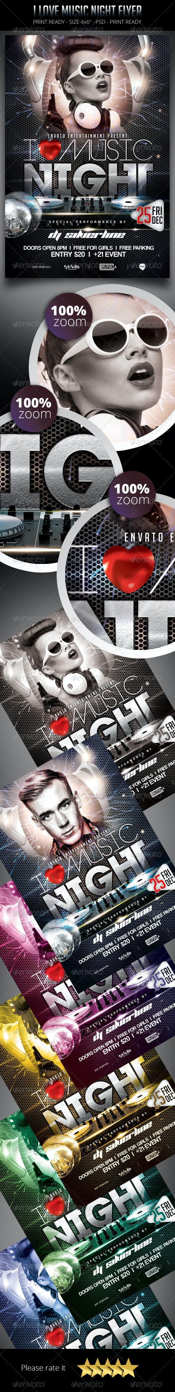 I Love Music Night Flyer - Clubs & Parties Events