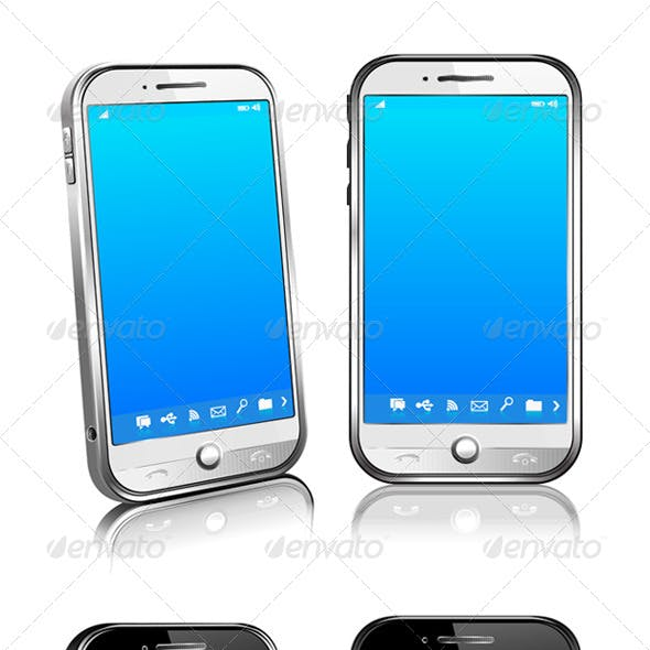 Phone Cell Smart Mobile 3D 2D White and Black
