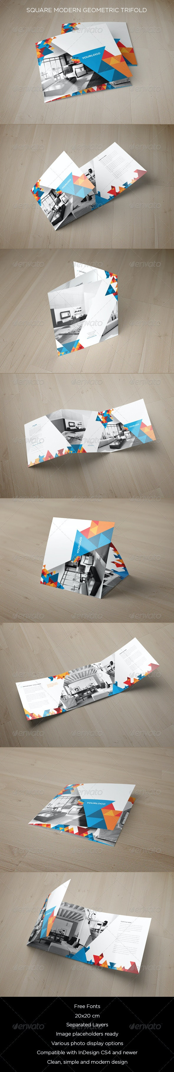 Square Modern Geometric Trifold - Brochures Print Templates