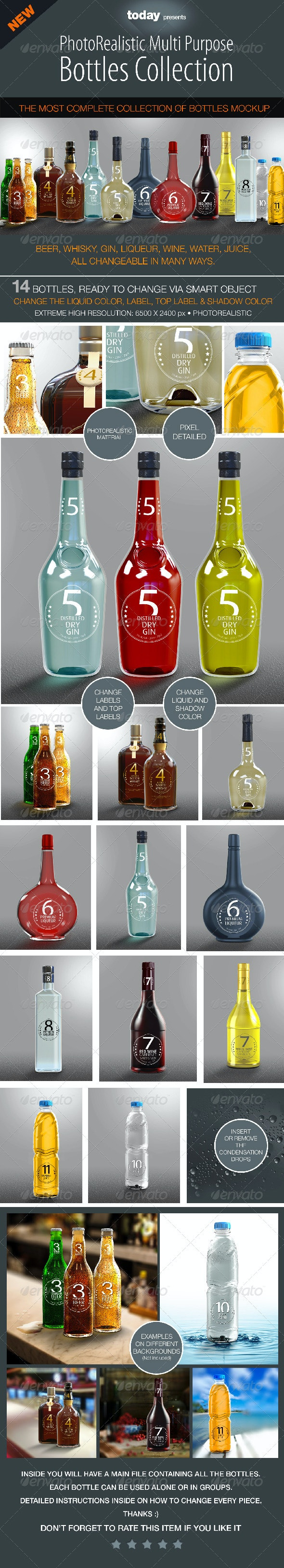 Bottles Mockup - Complete Collection - Product Mock-Ups Graphics