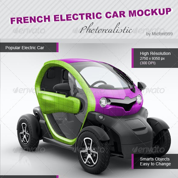 Photorealistic French Popular Electric Car MockUp