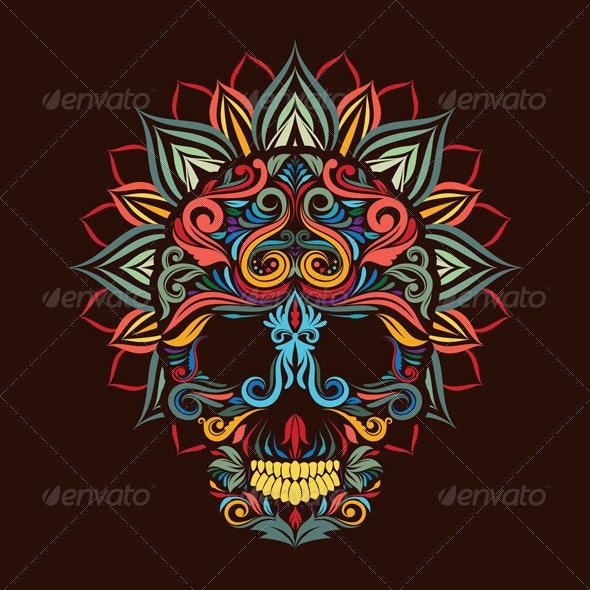 Skull and Lotus Flower - Decorative Symbols Decorative