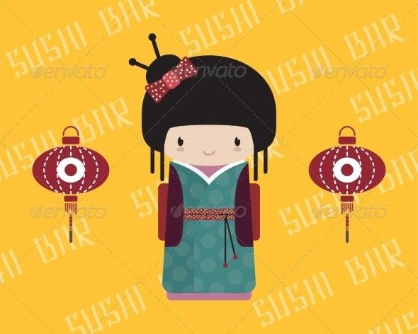 Kokeshi Doll in Kimono - People Characters