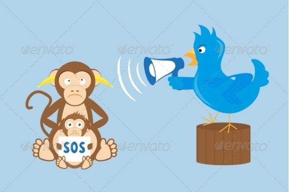 Blue Bird is Shouting with Megaphone at Monkeys - Animals Characters