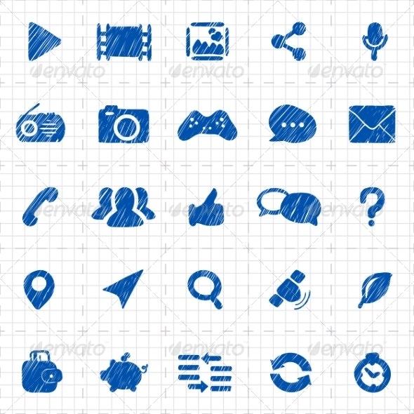 Social Media Icons for Website - Web Elements Vectors