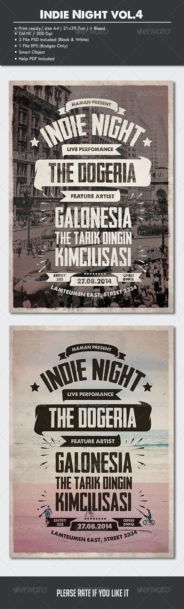 Indie Typography Flyer/Poster Vol.4 - Concerts Events