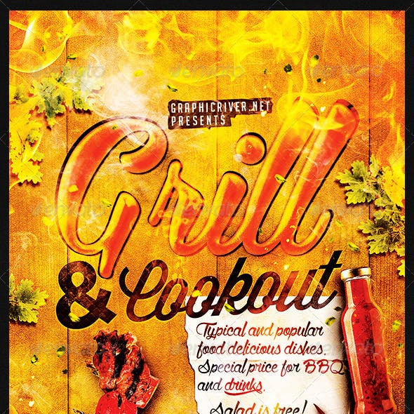 Grill And Cookout | Flyer Template PSD