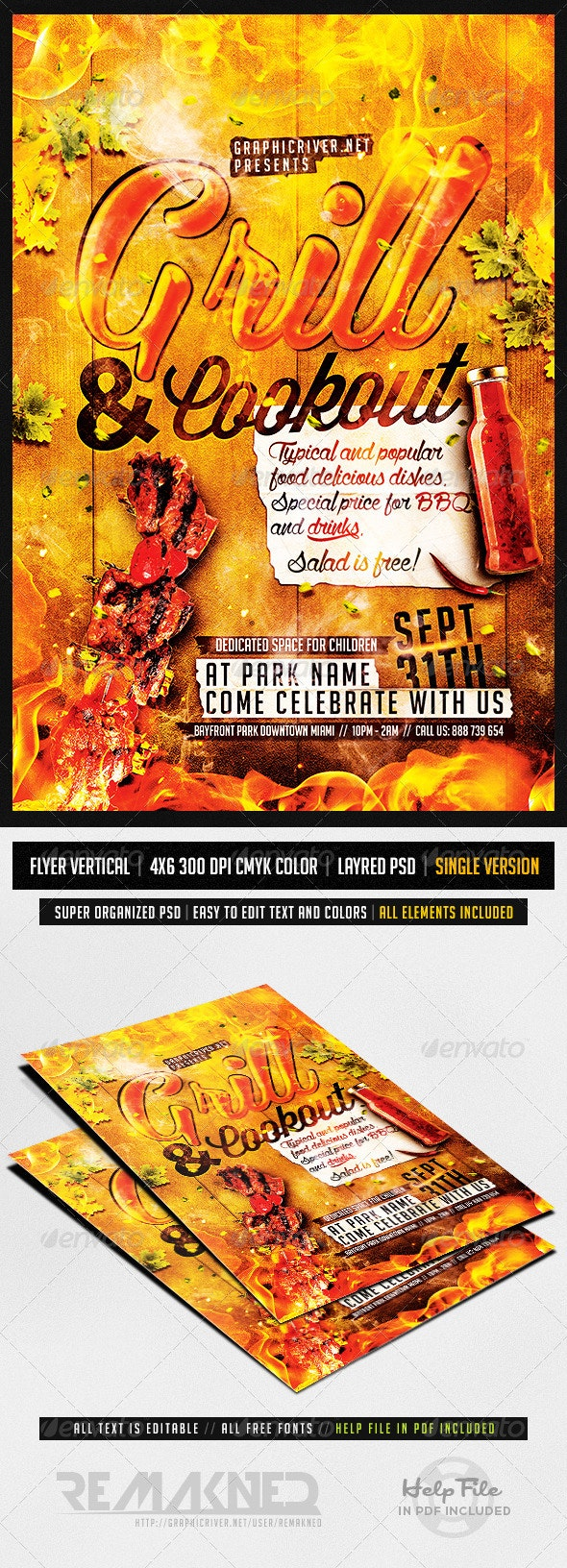 Grill And Cookout | Flyer Template PSD - Flyers Print Templates