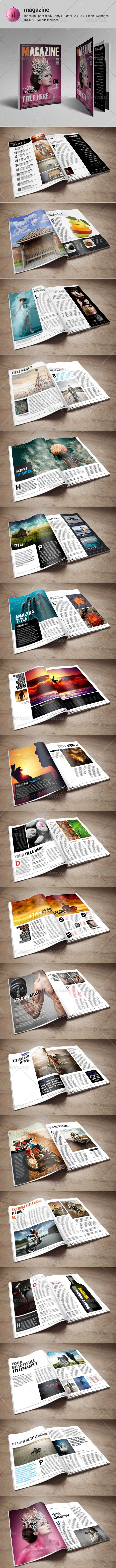 50 Pages Indesign Magazine Template - Magazines Print Templates