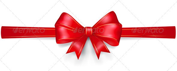 Red Bow with Gold Strips - Decorative Symbols Decorative