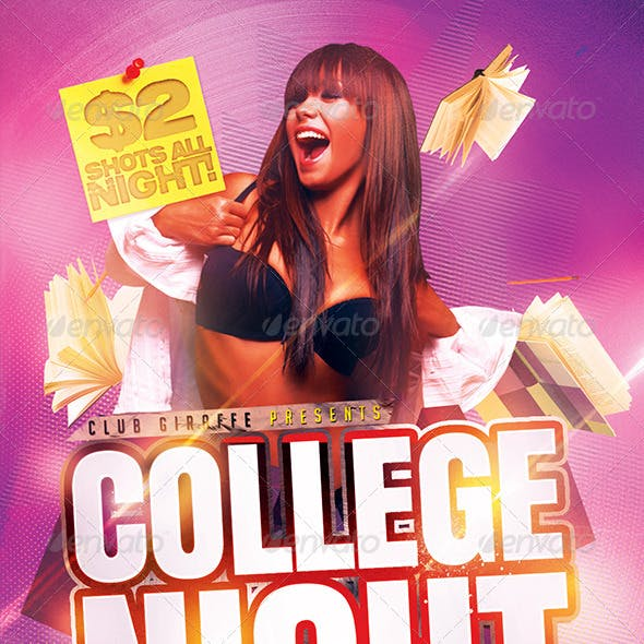 College Night Flyer Template PSD