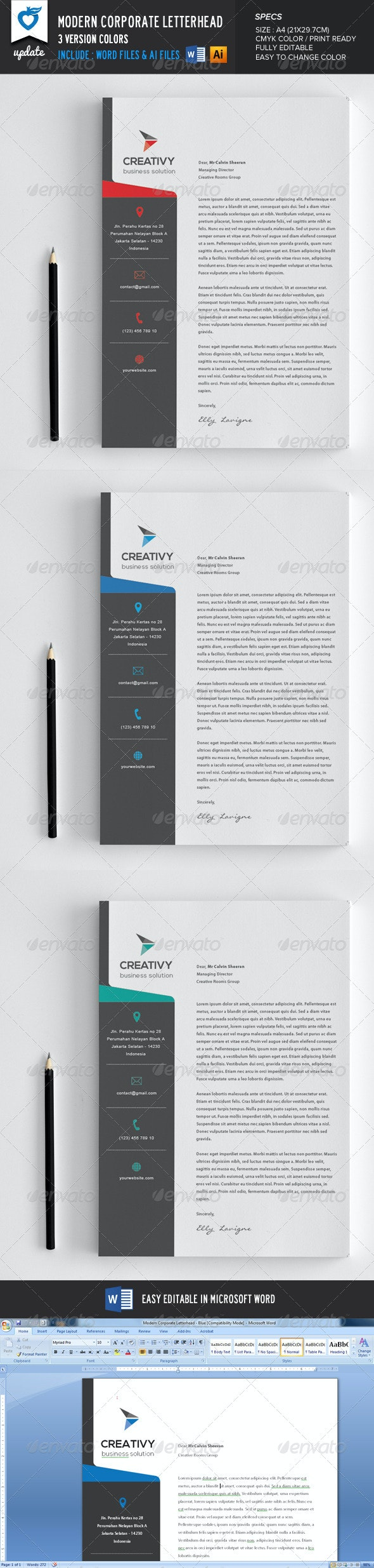 Modern Corporate Letterhead - Stationery Print Templates