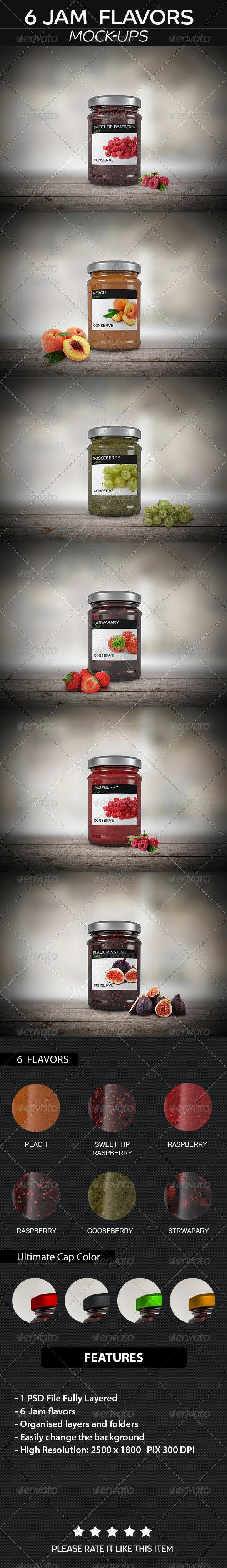 6 Jam Jar Flavors Mock up - Food and Drink Packaging