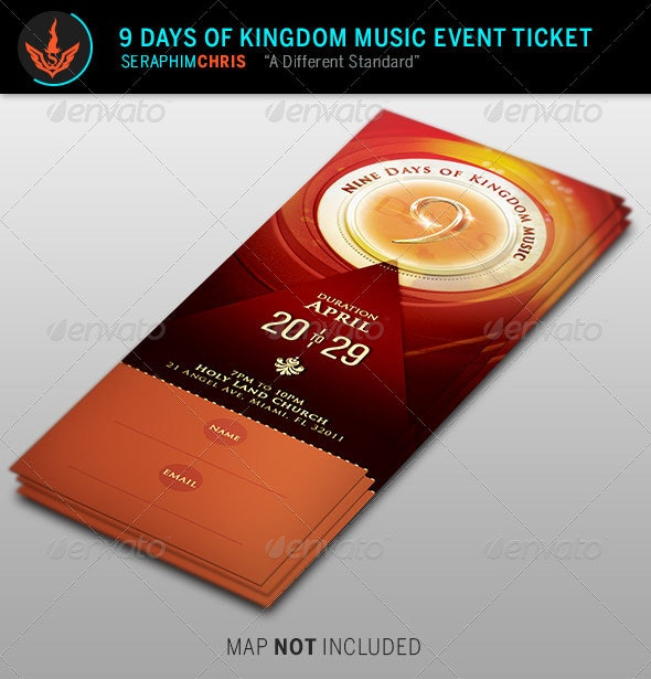 9 Days of Kingdom Music Event Ticket Template - Miscellaneous Print Templates