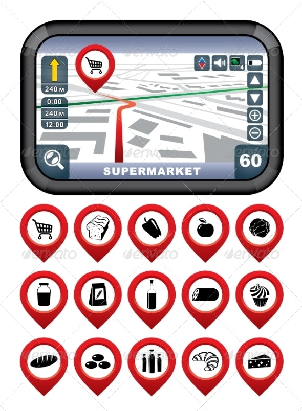 GPS Navigator with Pointer Icons - Food Objects