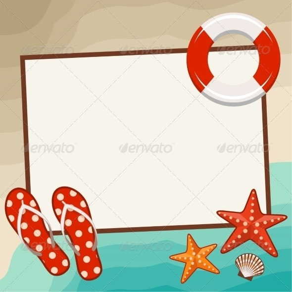Summer Frame with Beach Symbols - Travel Conceptual