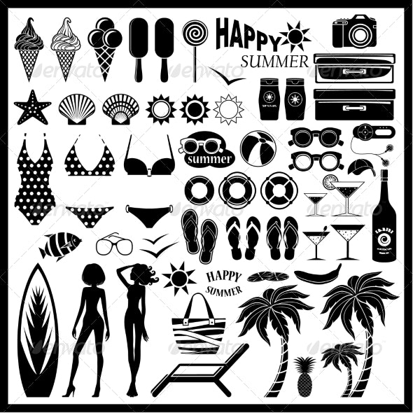 Beach Icon Set - Travel Conceptual