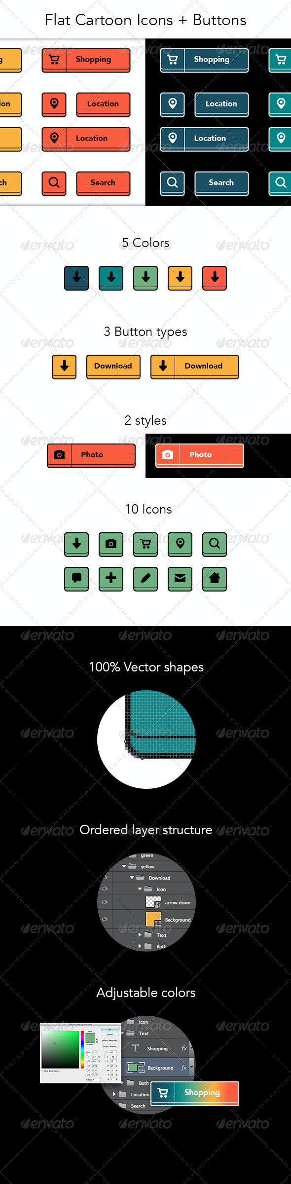 Flat Cartoon Buttons + Icons - Buttons Web Elements