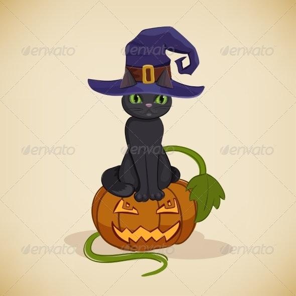 Vintage Halloween Card with Cat and Pumpkin - Halloween Seasons/Holidays