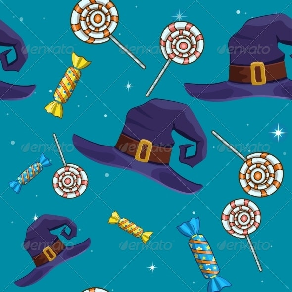 Halloween Seamless Pattern with Candy and Hat - Halloween Seasons/Holidays