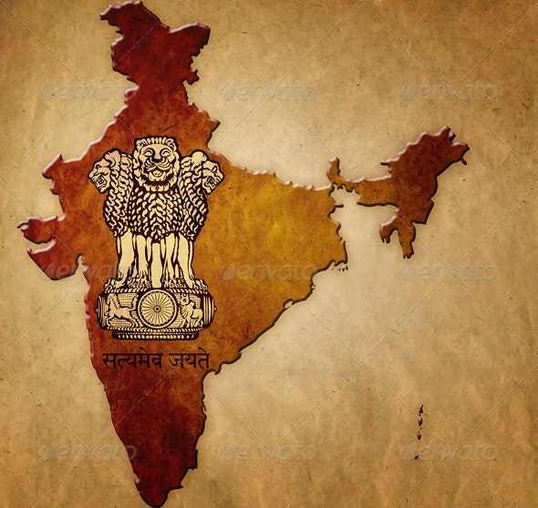 Map of India with Coat of Arms - Objects Illustrations