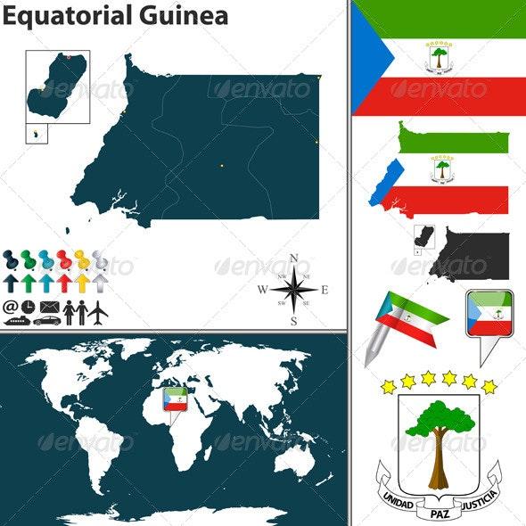 Map of Equatorial Guinea - Travel Conceptual