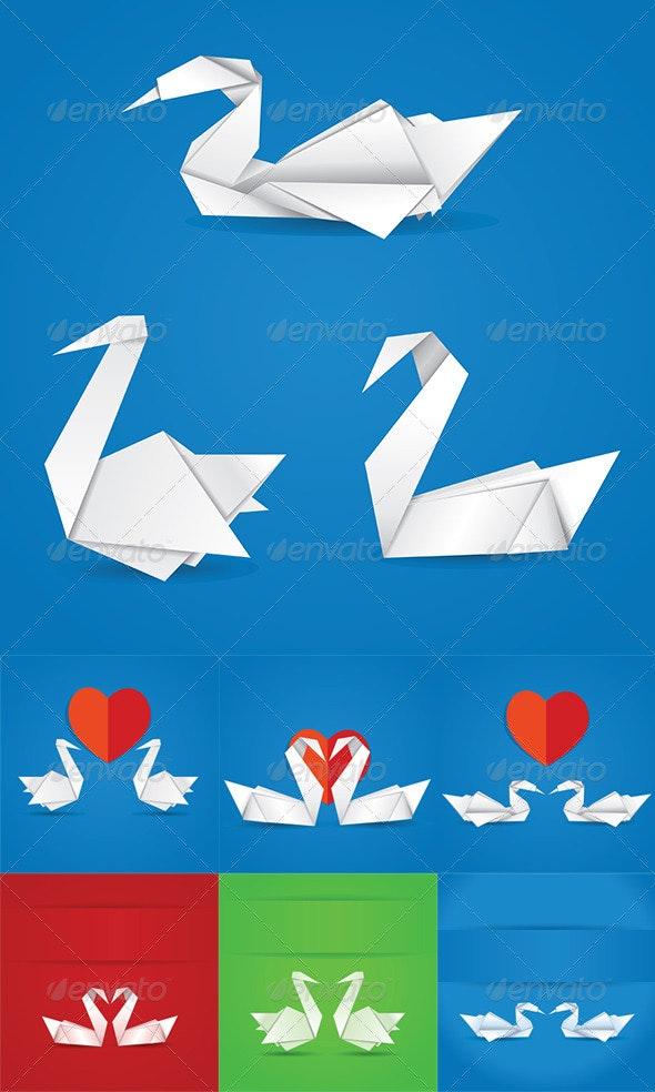 Origami Swans - Miscellaneous Vectors
